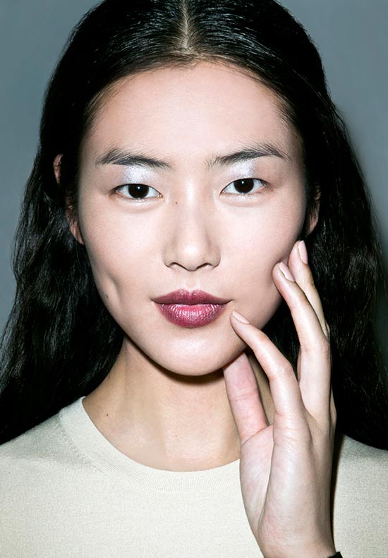 Metallic Eyes and Wine Lips at Derek Lam Fall 2013