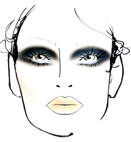 Jean Pierre Braganza Fall 2013 makeup face chart by MAC