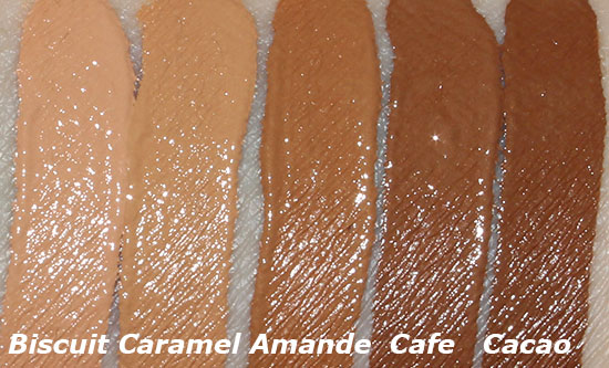NARS Radiant Creamy Concealer in Biscuit, Caramel, Amande, Cafe and Cacao swatches