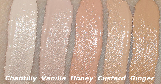 NARS Radiant Creamy Concealer in Chantilly, Vanilla, Honey, Custard and Ginger swatches