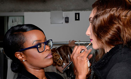 Tia Cibani Fall 2013 backstage makeup