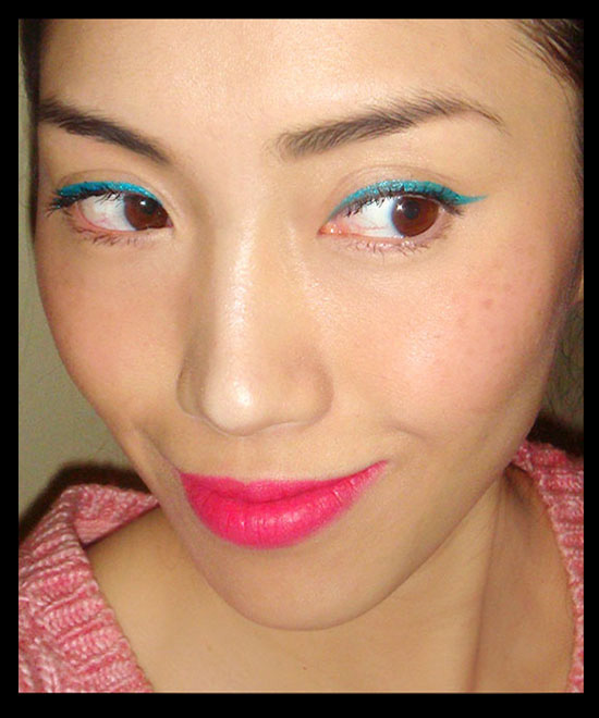 Wearing Milani Ultrafine Liquid Eye Liner in Sparkling Turquoise