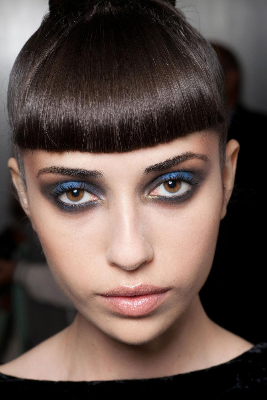 Blue eye makeup at Jeremy Scott Spring 2013