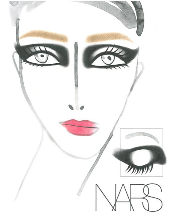 Roland Mouret Fall 2013 makeup face chart by NARS