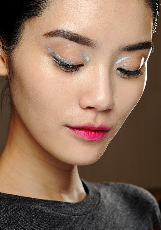 Silver Graphic Eye and Fuchsia Lip at Dior Fall 2013
