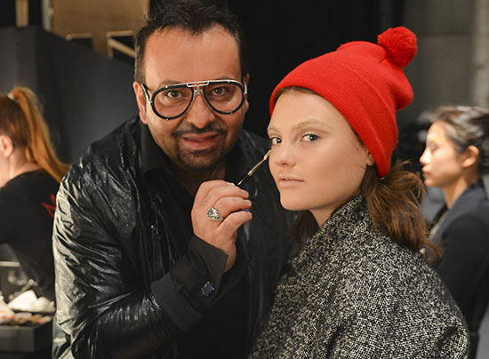 Napoleon Perdis doing makeup backstage at Camilla and Marc S/S 2013-2014