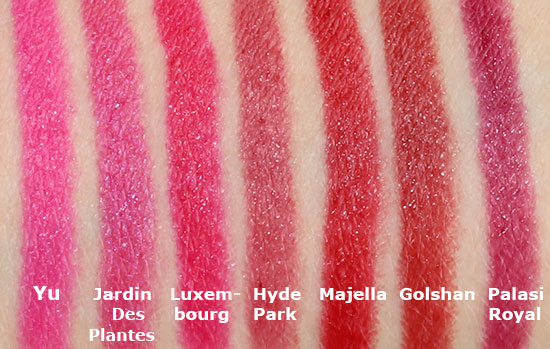 NARS Satin Lip Pencil swatches in Yu, Jardin Des Plantes, Luxembourg, Hyde Park, Majella, Golshan and Palasi Royal