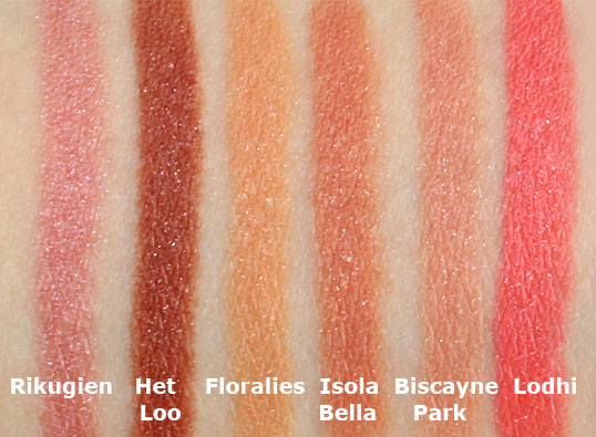 NARS Satin Lip Pencil swatches in Rikugien, Het Loo, Floralies, Isola Bella, Biscayne Park and Lodhi