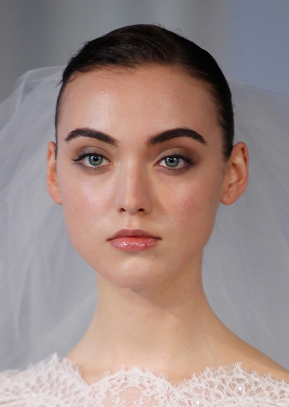 Soft smoky eye and glossy lips at Marchesa Spring/Summer 2014 Bridal