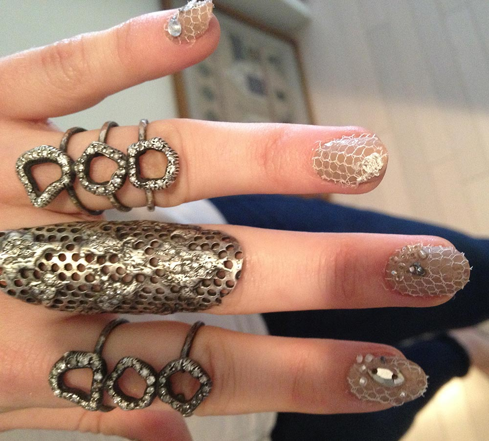 Emmy Rossum's lace manicure at 2013 Met Gala