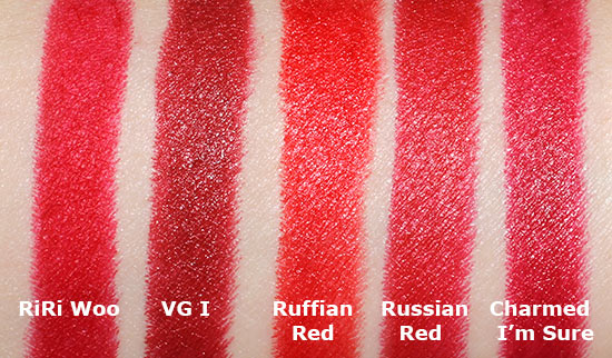 MAC RiRi Woo Lipstick Swatch comparison with MAC Viva Glam I, Ruffian Red, Russian Red and Charmed I'm Sure