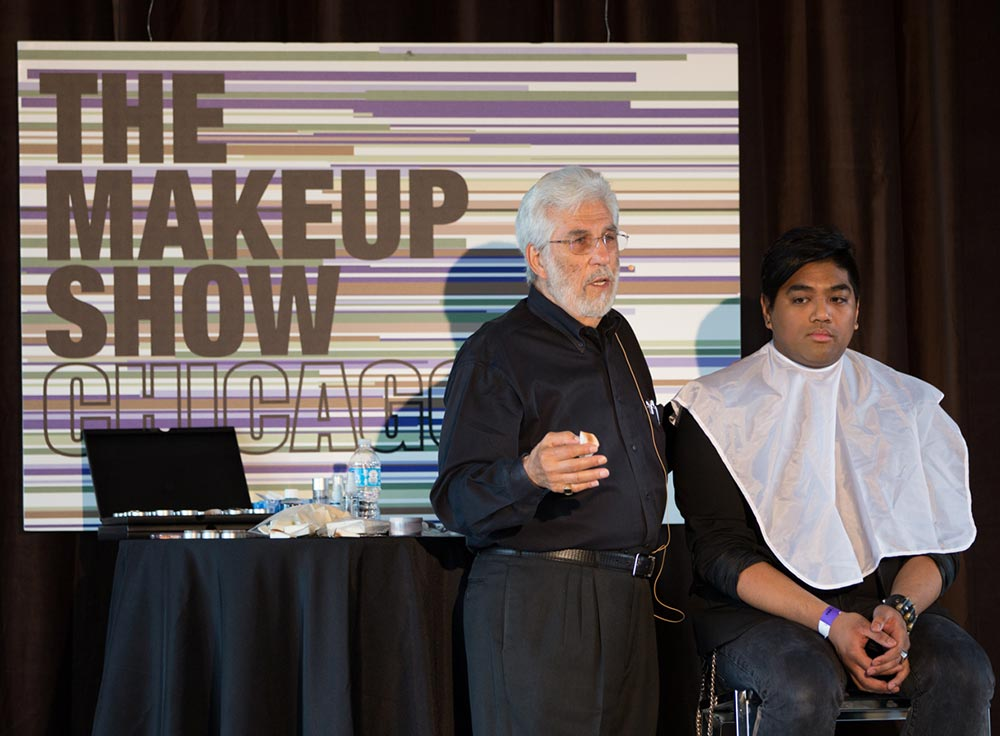 Maurice Stein from Cinema Secrets makeup demonstration at The Makeup Show Chicago 2013
