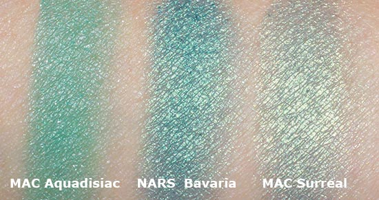 NARS Bavaria, MAC Surreal and Aquadisiac swatch comparison