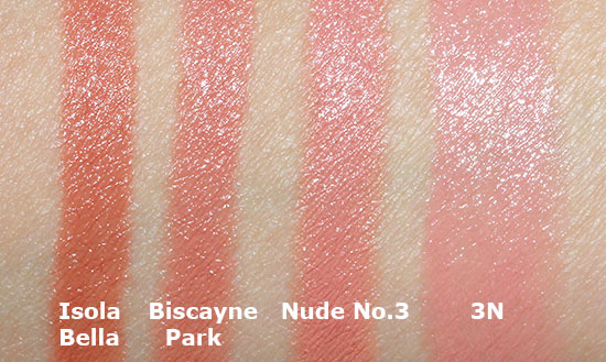 Hourglass Femme Nude Lip Stylo Swatch comparison