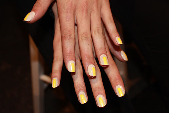 Colorblocked nude and yellow nails at Christian Siriano S/S 2014