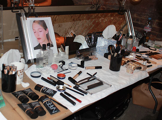 Helmut Lang S/S 2014 backstage makeup station