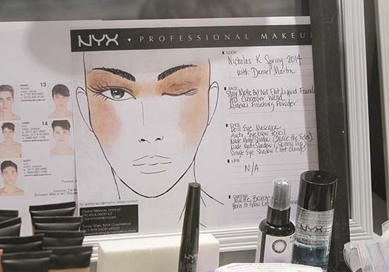 Nicholas K S/S 2014 facechart by NYX