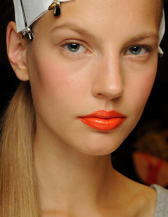 Orange lipstick at DKNY S/S 2014