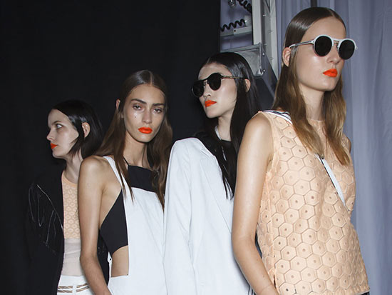 Bright orange lips at Rag & Bone S/S 2014