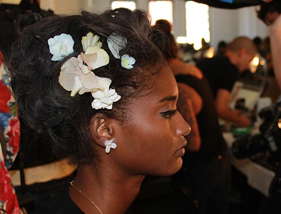 Zac Posen S/S 2014 backstage hair and makeup