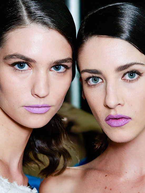 Purple lipstick runway look for Spring 2014