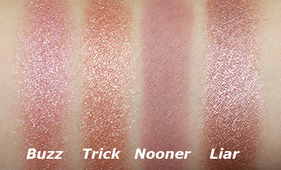 Urban Decay Naked 3 Buzz, Trick, Nooner and Liar swatches