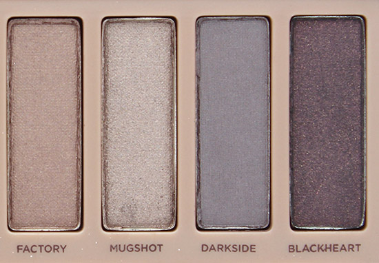 Urban Decay Naked 3 Factory, Mugshot, Darkside and Blackheart Eyeshadows