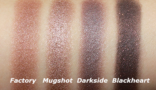 Urban Decay Naked 3 Factory, Mugshot, Darkside and Blackheart swatches