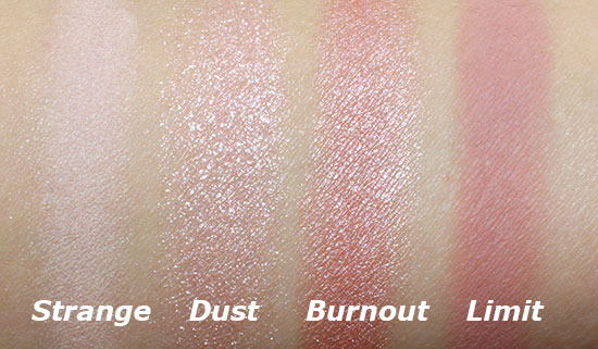 Strange, Dust, Burnout and Limit swatches