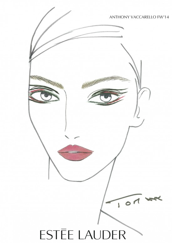 Anthony Vaccarello A/W '14 makeup facechart by Estee Lauder