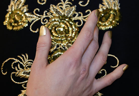Gold manicure by essie At Naeem Khan A/W '14