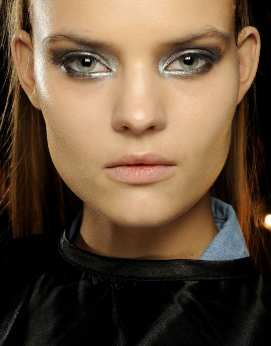 silver smoky eyes at Donna Karan fall '14