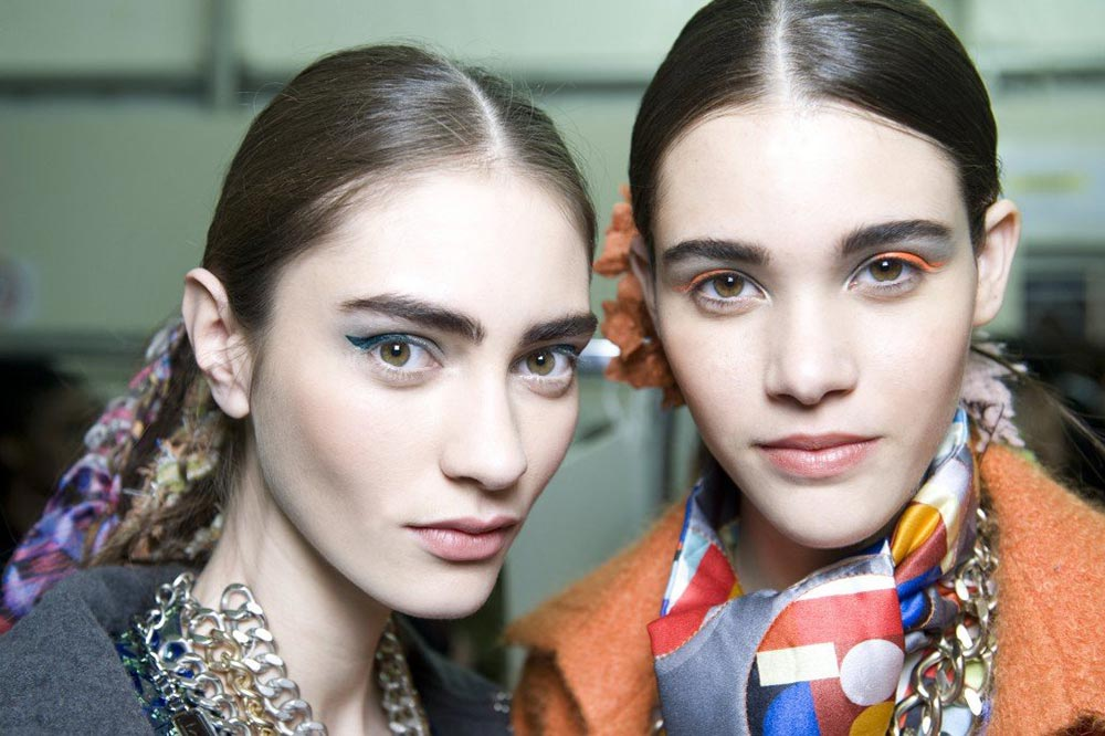 Bright eye makeup at Chanel A/W '14