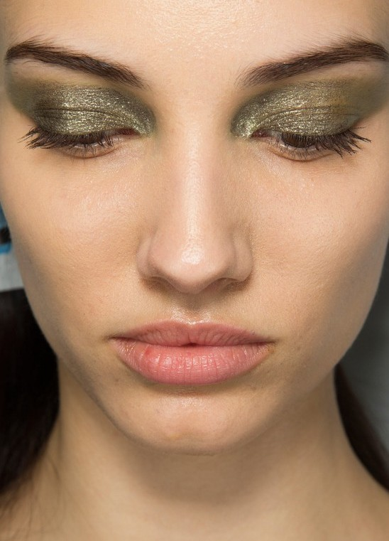 Glittery khaki eye makeup at Dior Fall 2014