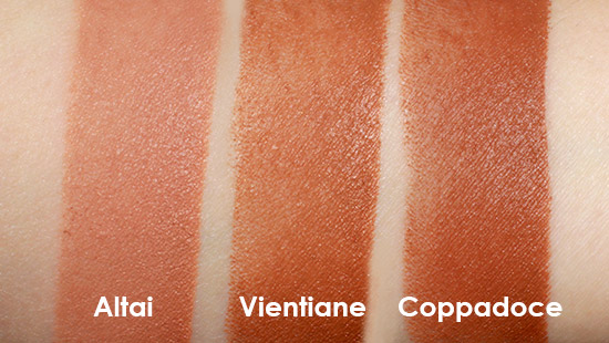 Swatches of NARS Altai, Coppadoce and Vientiane Matte Multiples