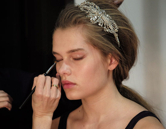 Jenny Packham Spring 2015 Bridal makeup backstage
