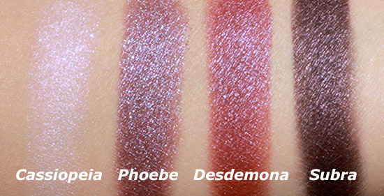 NARS Cassiopeia, Phoebe, Desdemona and Subra Dual Intensity Eyeshadow Swatches