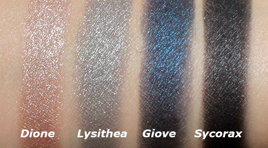 NARS Dione, Lysithea, Giove and Sycorax Dual Intensity Eyeshadow Swatches