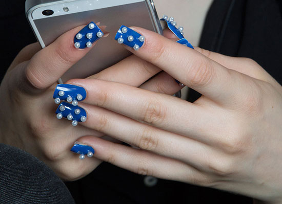 Blue manicure with pearls at Honor Spring/Summer 2015