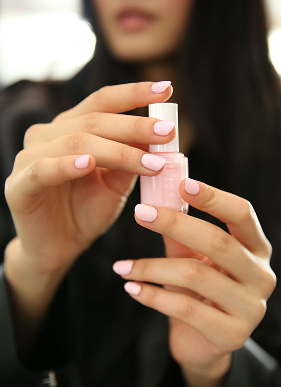 Creamy light pink manicure by Essie at Naeem Khan Spring/Summer 2015