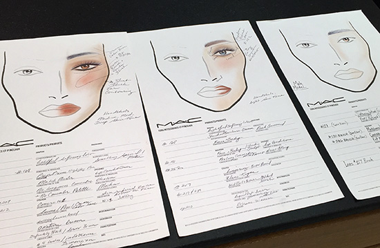 MAC Headshot and Audition Makeup Masterclass makeup face chart