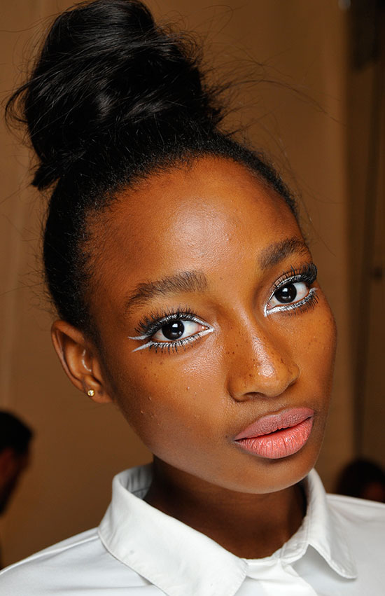 Backstage makeup by Maybelline at Nanette Lepore Spring/Summer 2015