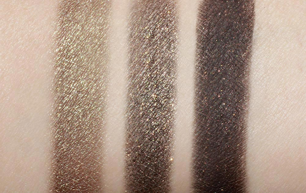 Swatches of MAC Greensmoke, NARS Gabon and NARS Night Clubbing