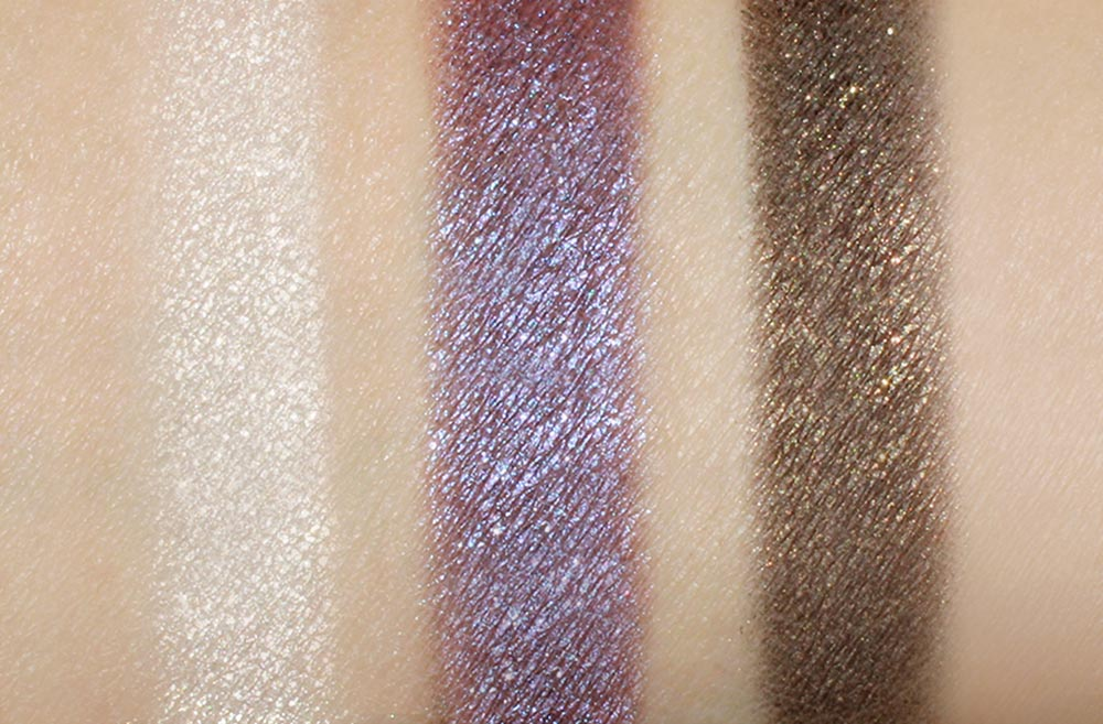 Swatches of NARS Hardwired Eyeshadows in Opal Coast, Canberra and Gabon