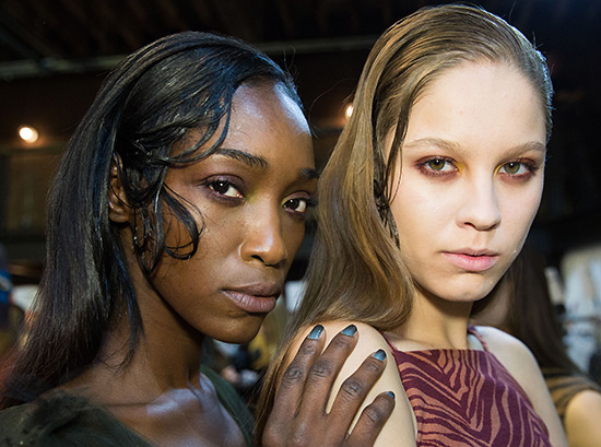 Backstage makeup and nails at Christian Siriano A/W 2015