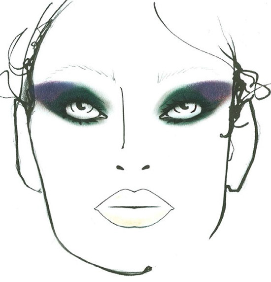 Monique Lhuillier A/W 2015 makeup facechart by MAC
