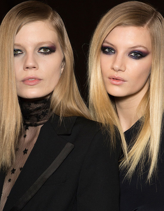 Purple and teal smoky eyes at Monique Lhuillier A/W 2015