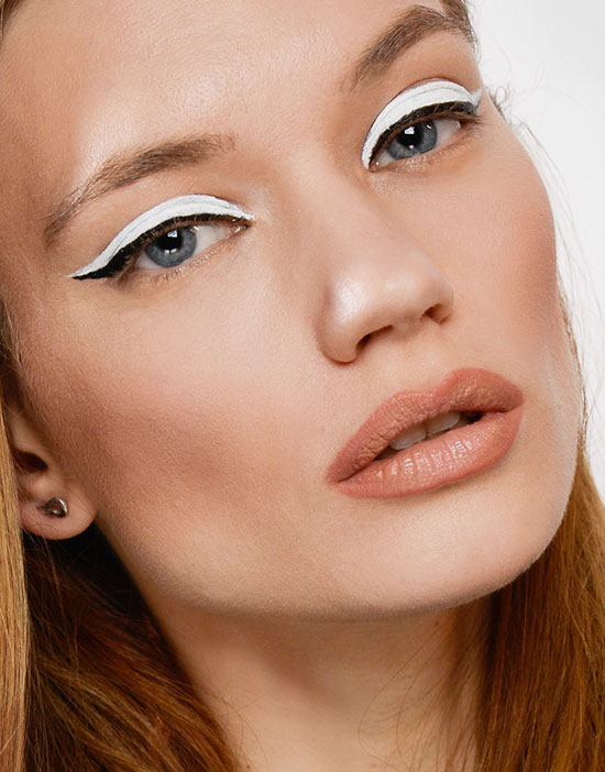White eyeliner with nude lips at The Blonds A/W 2015