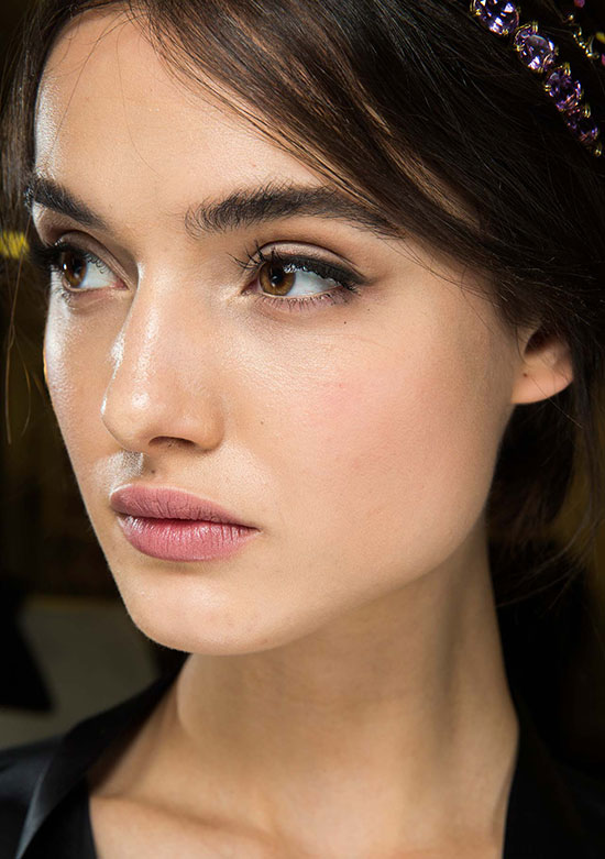 Nude pink lipstick at Dolce & Gabbana A/W 2015