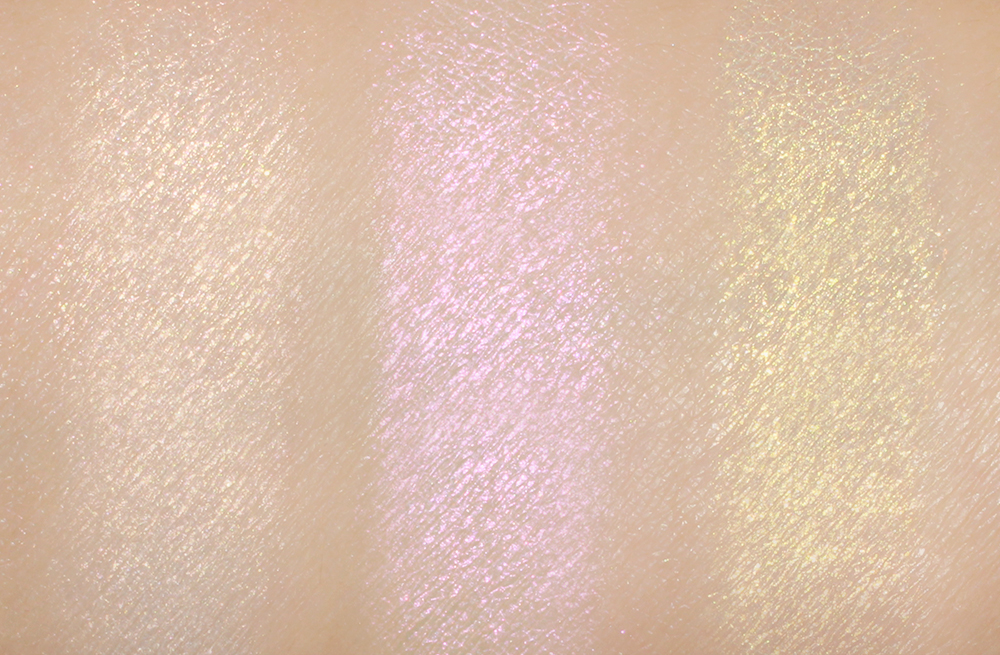 MAC Vanilla Pigment vs Pat McGrath Labs Skin Fetish 003 Iridescent Pink 003 and Fine Gold 003 Pigment swatch comparison